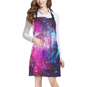 Purple Galaxy Space Blue Stardust Print Bib Apron With Pockets GearFrost
