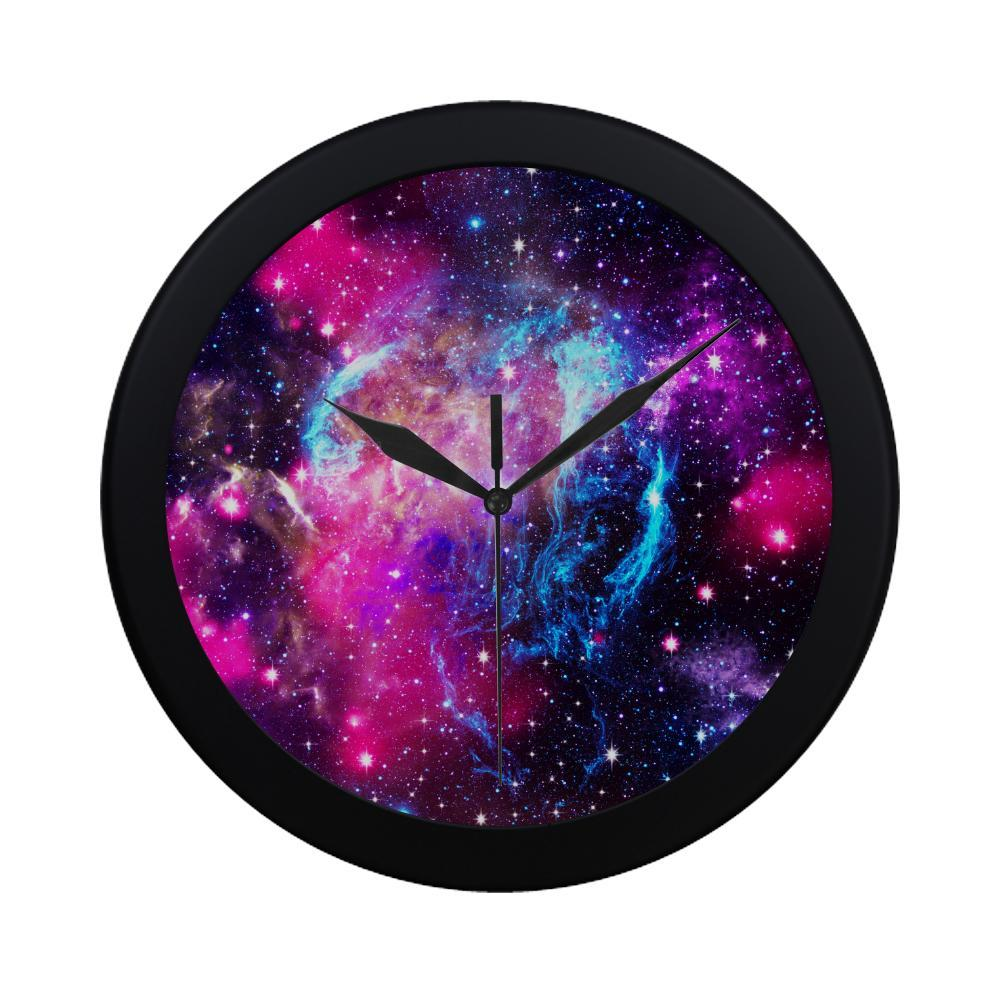 Purple Galaxy Space Blue Stardust Print Black Wall Clock GearFrost