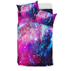 Purple Galaxy Space Blue Stardust Print Duvet Cover Bedding Set GearFrost