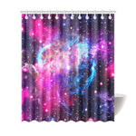 Purple Galaxy Space Blue Stardust Print Extra Long Shower Curtain GearFrost
