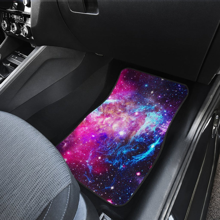 Purple Galaxy Space Blue Stardust Print Front and Back Car Floor Mats GearFrost