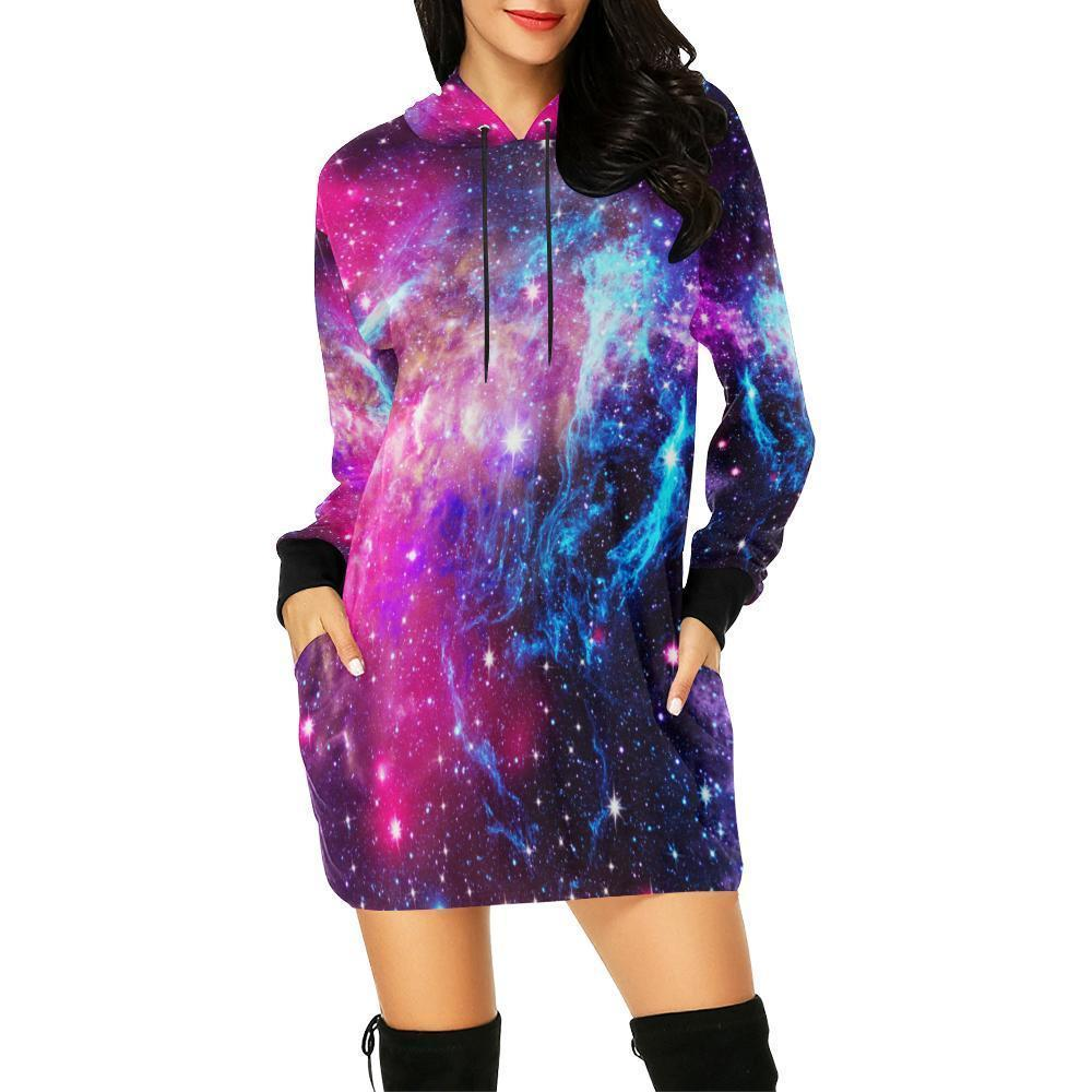 Purple Galaxy Space Blue Stardust Print Hoodie Dress GearFrost