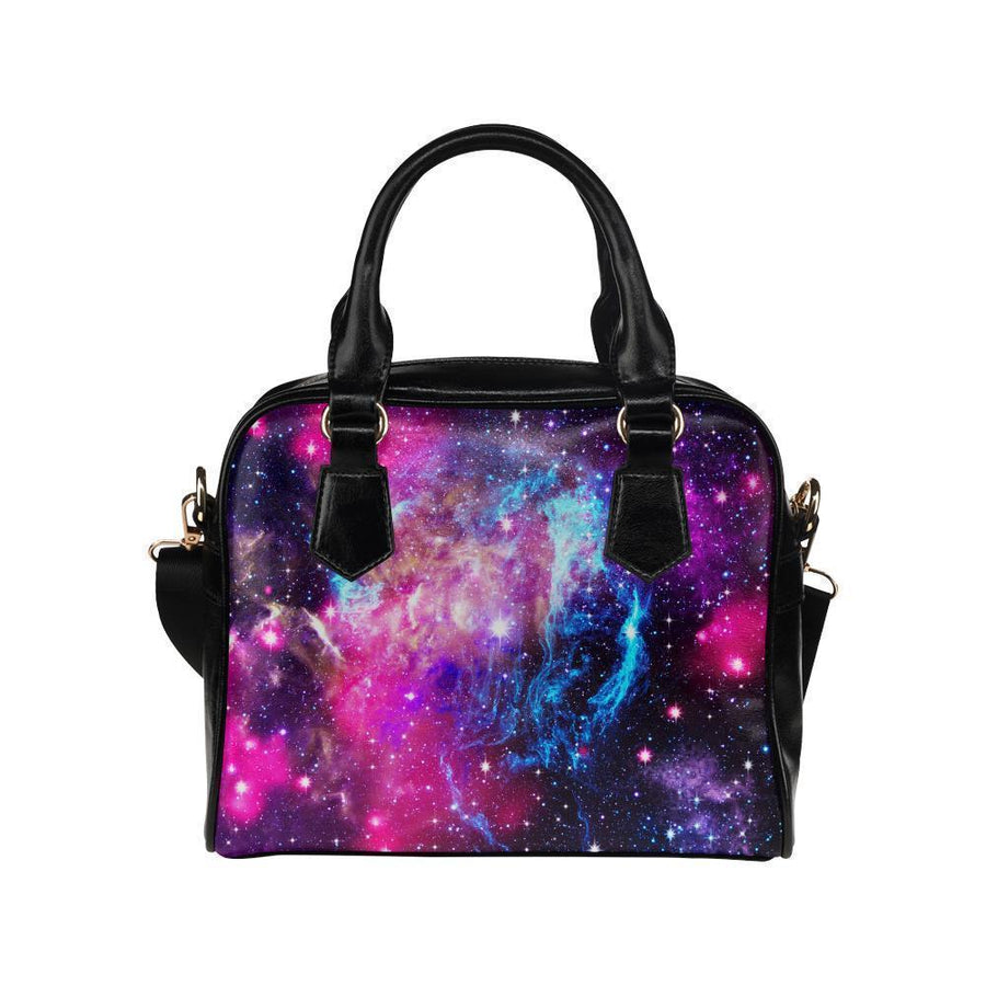 Purple Galaxy Space Blue Stardust Print Leather Shoulder Handbag GearFrost