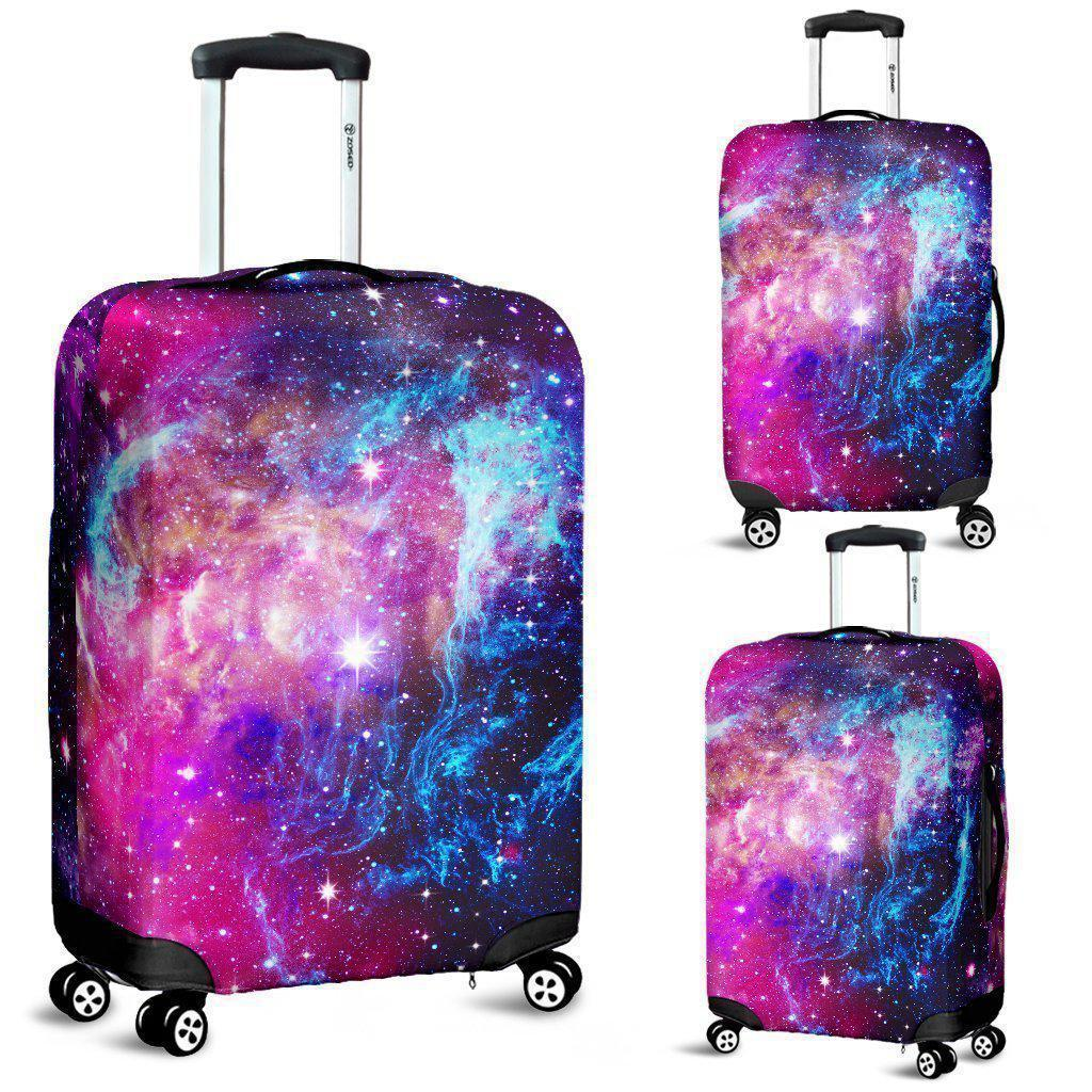 Purple Galaxy Space Blue Stardust Print Luggage Cover GearFrost