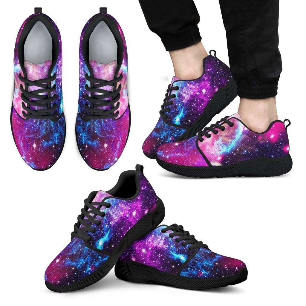 Purple Galaxy Space Blue Stardust Print Men's Athletic Shoes GearFrost