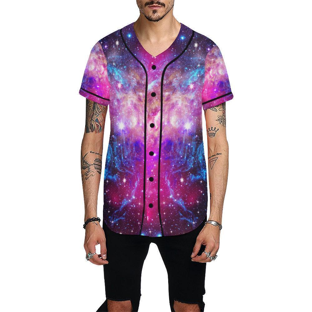 Purple Galaxy Space Blue Stardust Print Men's Baseball Jersey GearFrost