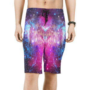 Purple Galaxy Space Blue Stardust Print Men's Board Shorts GearFrost
