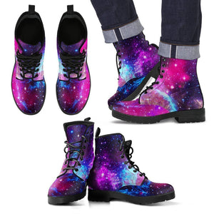 Purple Galaxy Space Blue Stardust Print Men's Boots GearFrost