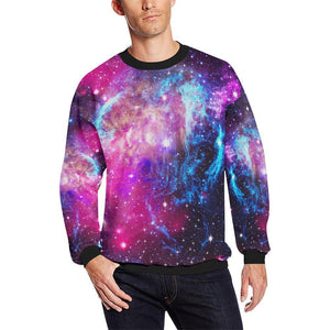 Purple Galaxy Space Blue Stardust Print Men's Crewneck Sweatshirt GearFrost