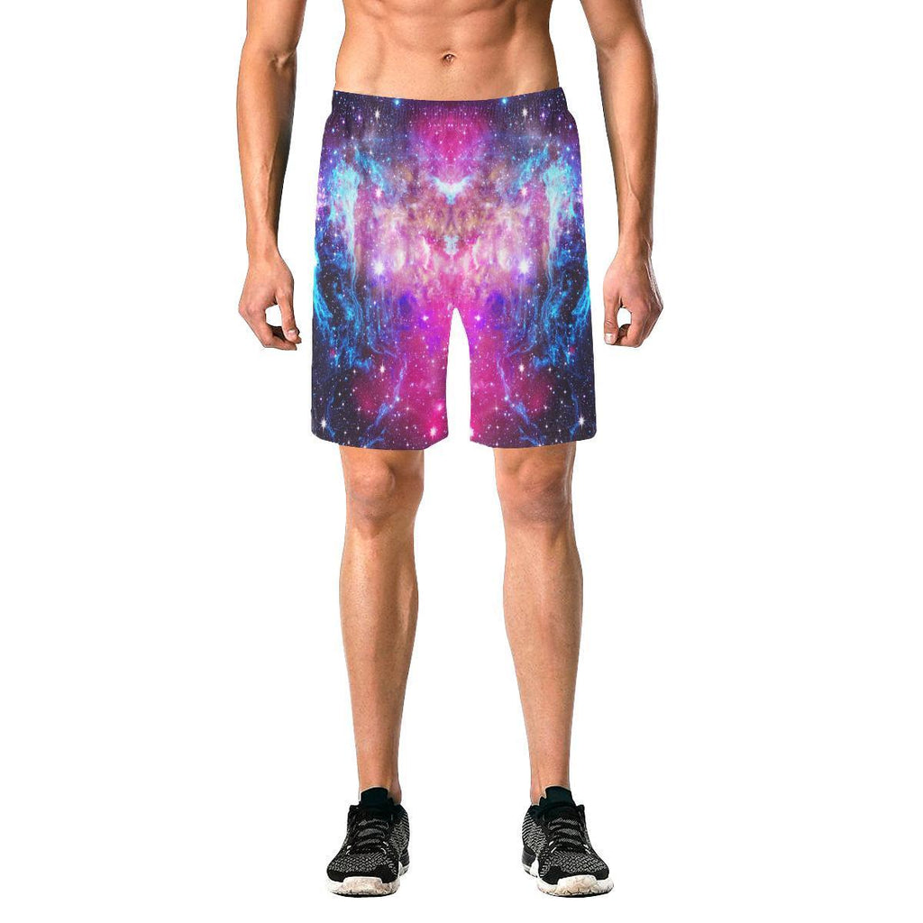 Purple Galaxy Space Blue Stardust Print Men's Elastic Board Shorts GearFrost