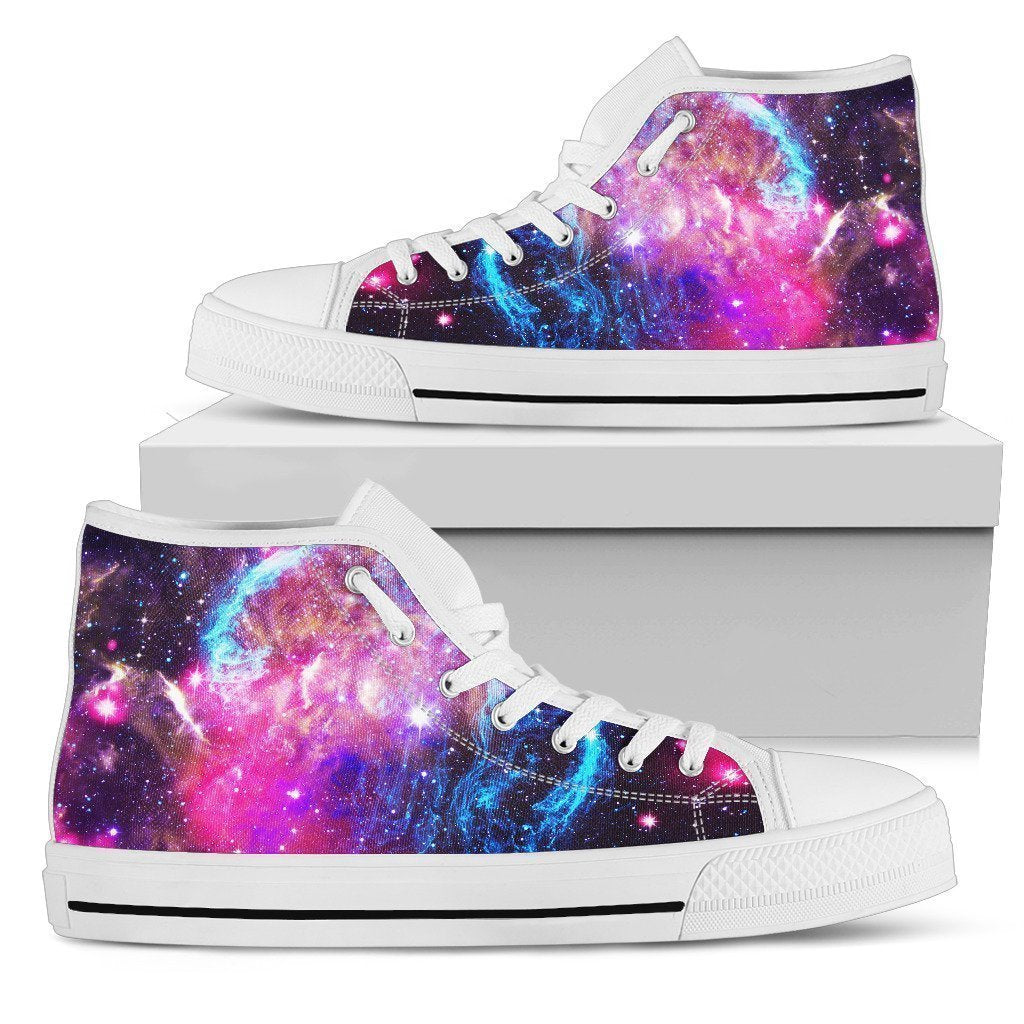 Purple Galaxy Space Blue Stardust Print Men's High Top