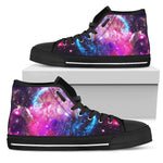 Purple Galaxy Space Blue Stardust Print Men's High Top Shoes GearFrost
