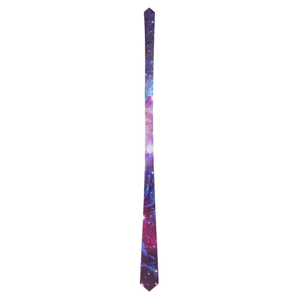 Purple Galaxy Space Blue Stardust Print Men's Necktie GearFrost
