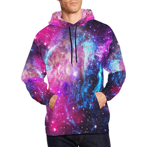 Purple Galaxy Space Blue Stardust Print Men's Pullover Hoodie GearFrost