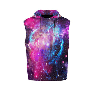 Purple Galaxy Space Blue Stardust Print Men's Sleeveless Hoodie GearFrost