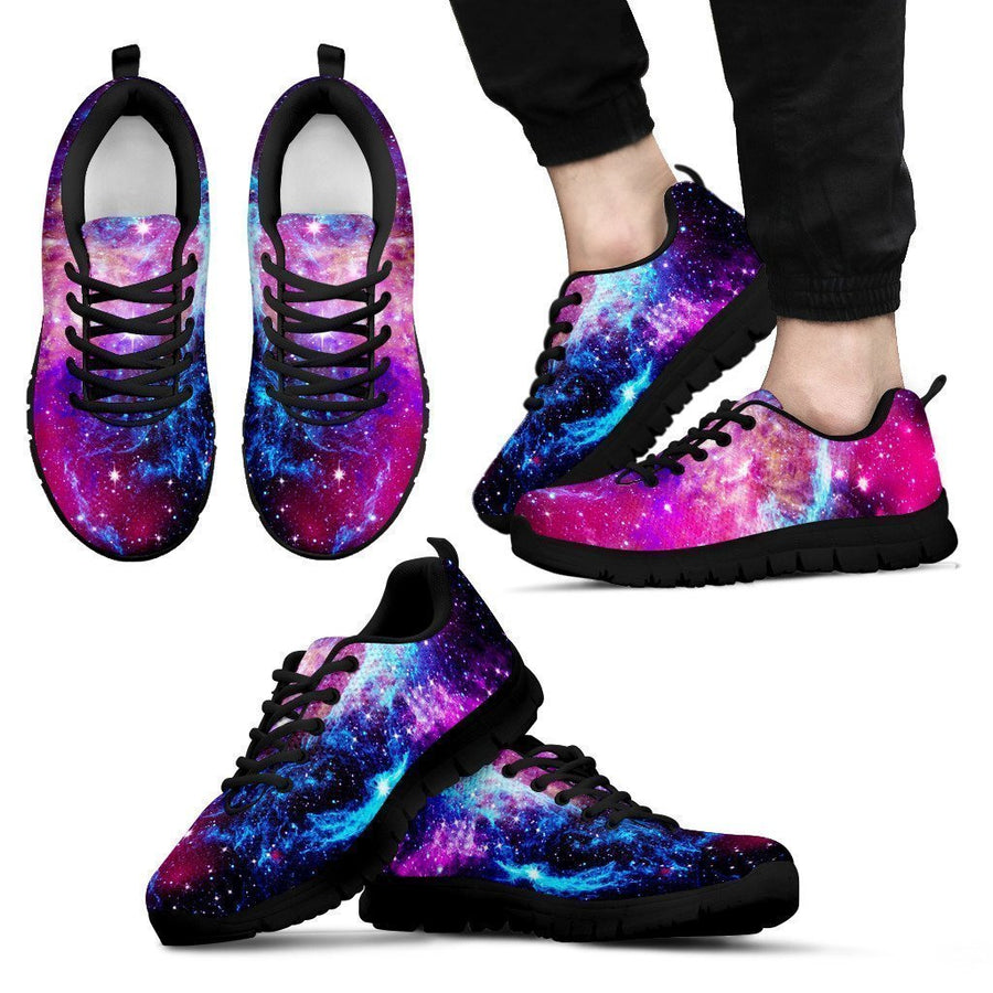 Purple Galaxy Space Blue Stardust Print Men's Sneakers GearFrost