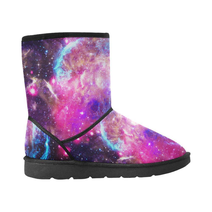 Purple Galaxy Space Blue Stardust Print Men's Snow Boots GearFrost