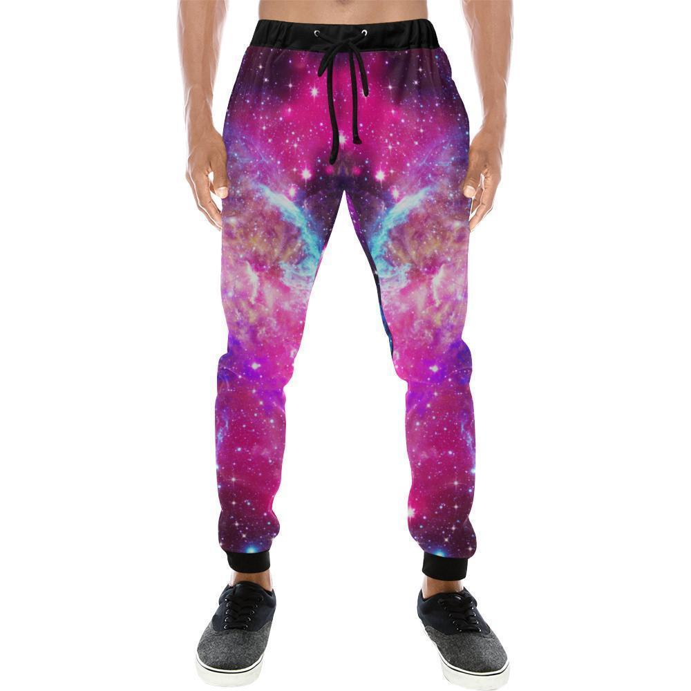 Purple Galaxy Space Blue Stardust Print Men's Sweatpants GearFrost