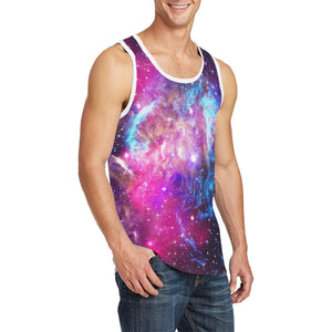 Purple Galaxy Space Blue Stardust Print Men's Tank Top GearFrost