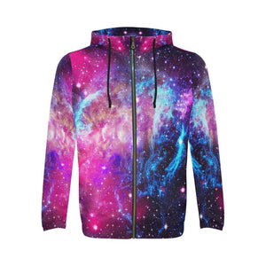 Purple Galaxy Space Blue Stardust Print Men's Zip Up Hoodie GearFrost