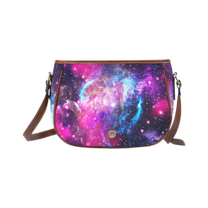 Purple Galaxy Space Blue Stardust Print Saddle Bag Crossbody Purse GearFrost