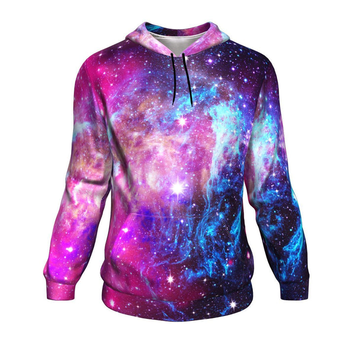 Purple Galaxy Space Blue Stardust Print Unisex Pullover Hoodie GearFrost