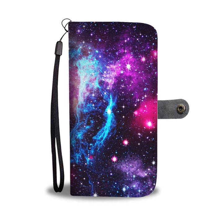 Purple Galaxy Space Blue Stardust Print Wallet Phone Case GearFrost