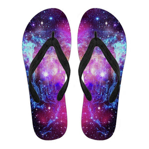 Purple Galaxy Space Blue Stardust Print Women's Flip Flops GearFrost