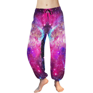 Purple Galaxy Space Blue Stardust Print Women's Harem Pants GearFrost