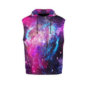 Purple Galaxy Space Blue Stardust Print Women's Sleeveless Hoodie GearFrost
