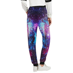 Purple Galaxy Space Blue Stardust Print Women's Sweatpants GearFrost