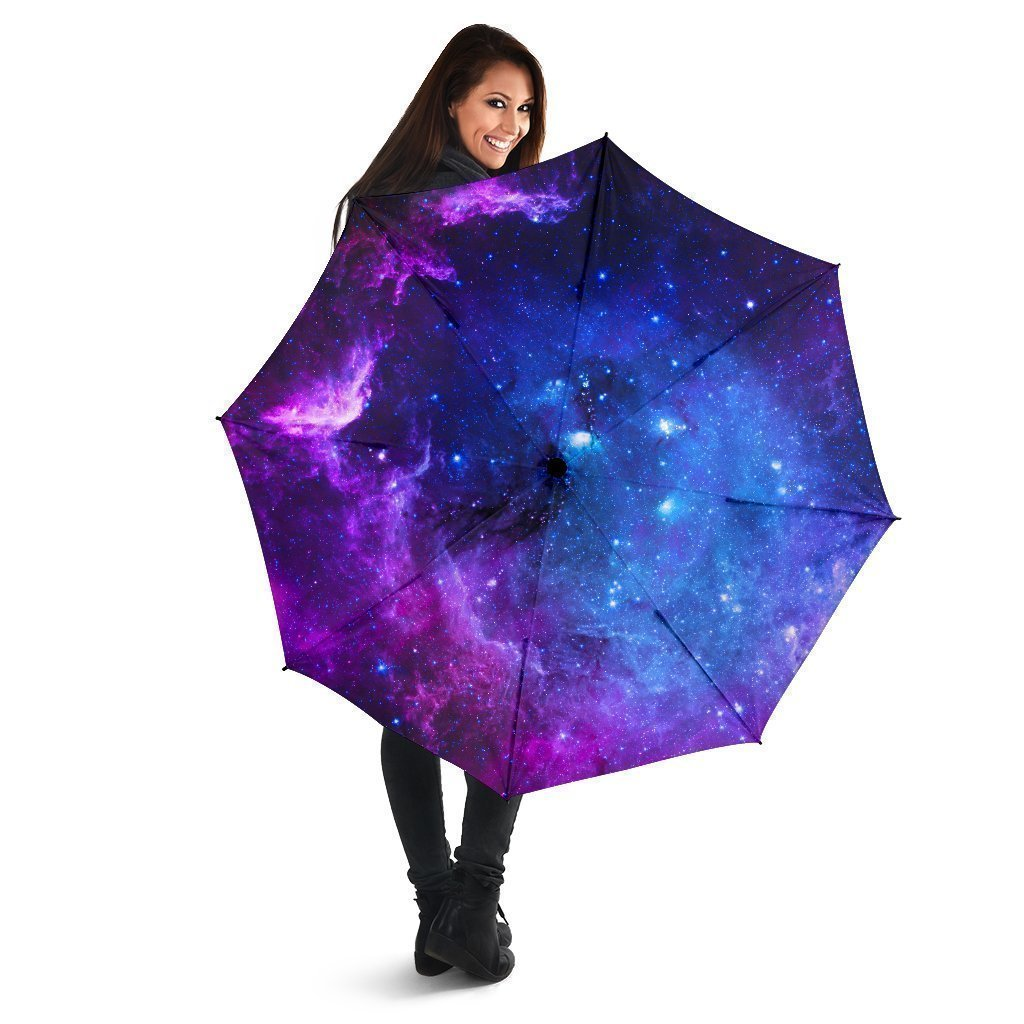 Purple Galaxy Space Blue Starfield Print Foldable Umbrella GearFrost