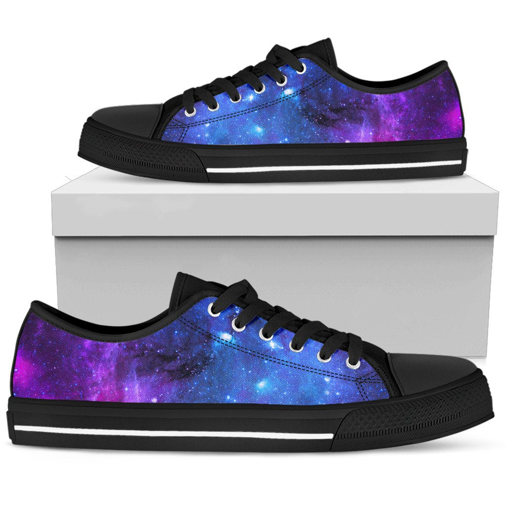 Purple Galaxy Space Blue Starfield Print Men's Low Top Shoes GearFrost
