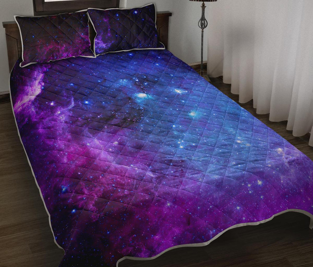 Purple Galaxy Space Blue Starfield Print Quilt Bed Set GearFrost
