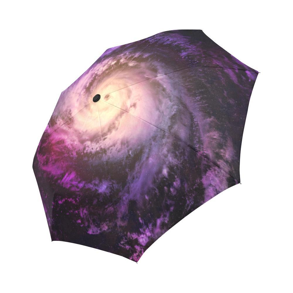 Purple Galaxy Space Spiral Cloud Print Automatic Foldable Umbrella GearFrost