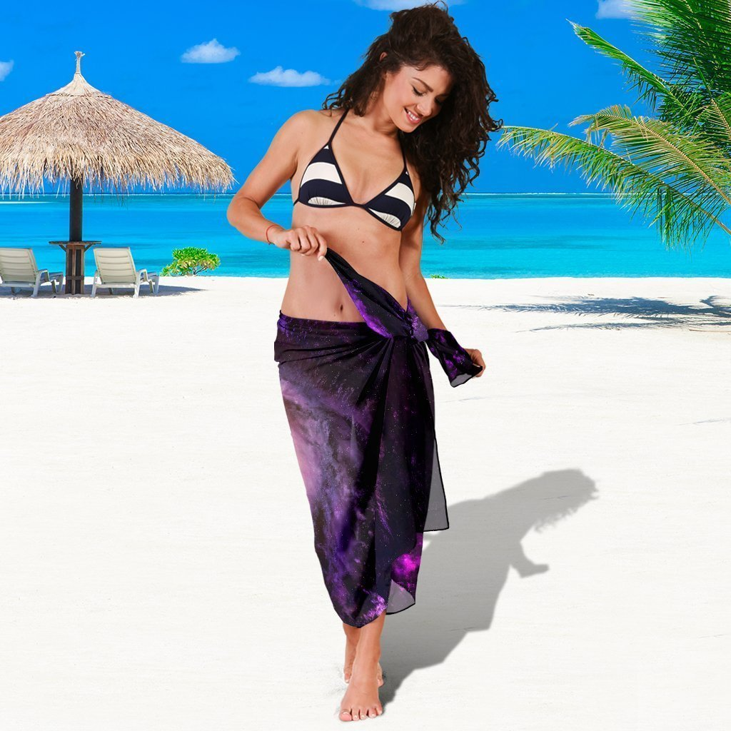 Purple Galaxy Space Spiral Cloud Print Beach Sarong Wrap GearFrost