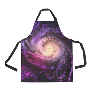 Purple Galaxy Space Spiral Cloud Print Bib Apron With Pockets GearFrost