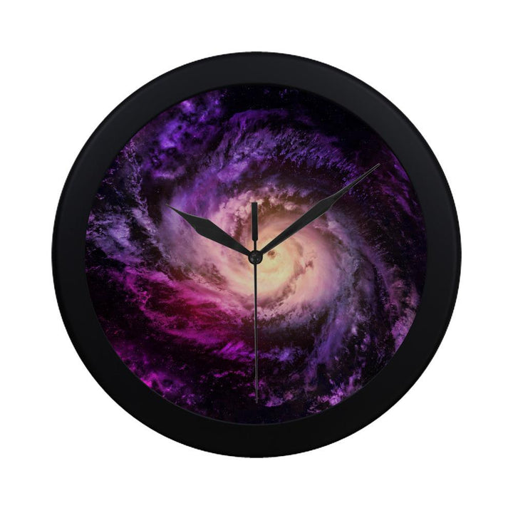 Purple Galaxy Space Spiral Cloud Print Black Wall Clock GearFrost