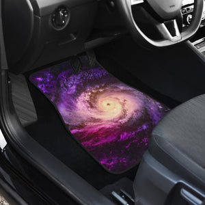 Purple Galaxy Space Spiral Cloud Print Front and Back Car Floor Mats GearFrost
