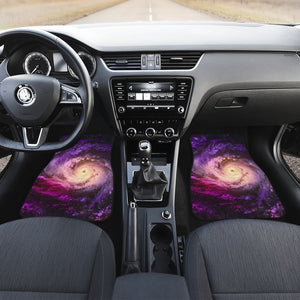 Purple Galaxy Space Spiral Cloud Print Front Car Floor Mats GearFrost