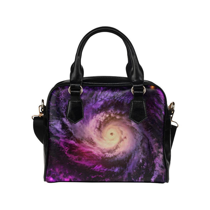 Purple Galaxy Space Spiral Cloud Print Leather Shoulder Handbag GearFrost