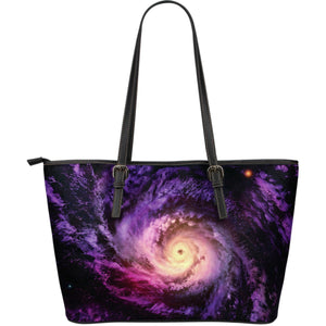 Purple Galaxy Space Spiral Cloud Print Leather Tote Bag GearFrost