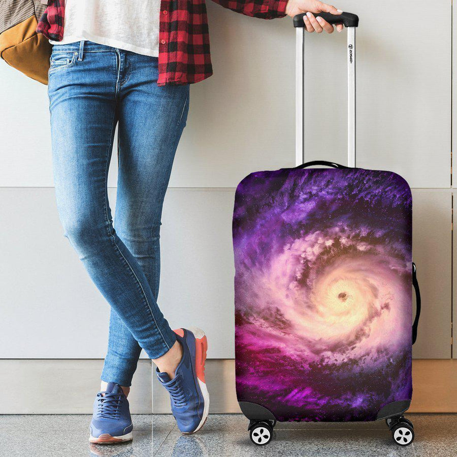 Purple Galaxy Space Spiral Cloud Print Luggage Cover GearFrost