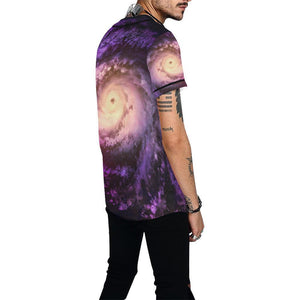 Purple Galaxy Space Spiral Cloud Print Men's Baseball Jersey GearFrost
