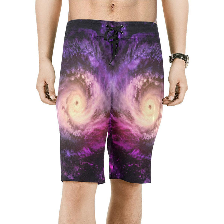 Purple Galaxy Space Spiral Cloud Print Men's Board Shorts GearFrost