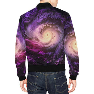 Purple Galaxy Space Spiral Cloud Print Men's Bomber Jacket GearFrost