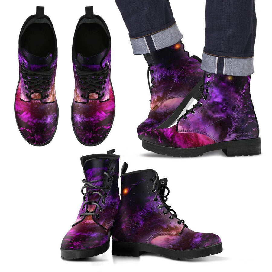 Purple Galaxy Space Spiral Cloud Print Men's Boots GearFrost