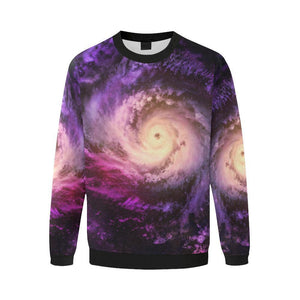 Purple Galaxy Space Spiral Cloud Print Men's Crewneck Sweatshirt GearFrost