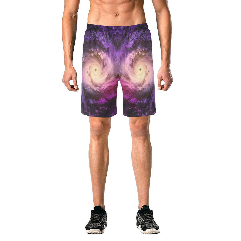 Purple Galaxy Space Spiral Cloud Print Men's Elastic Board Shorts GearFrost