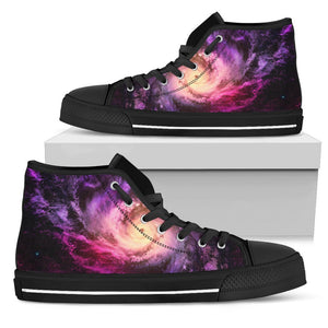 Purple Galaxy Space Spiral Cloud Print Men's High Top Shoes GearFrost